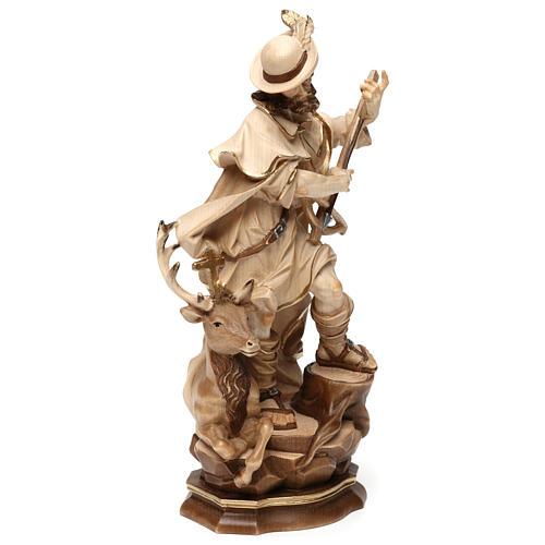 Saint Humbert in wood burnished in 3 colours Valgardena 8