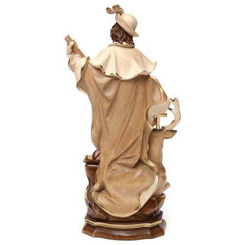 Saint Humbert in wood burnished in 3 colours Valgardena 9