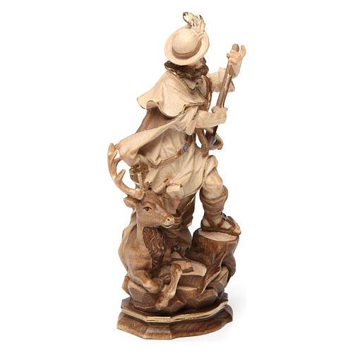 Saint Humbert in wood burnished in 3 colours Valgardena 3