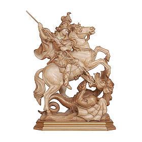 Imágenes de madera natural: San Jorge en su caballo madera bruñida 3 colores Val Gardena