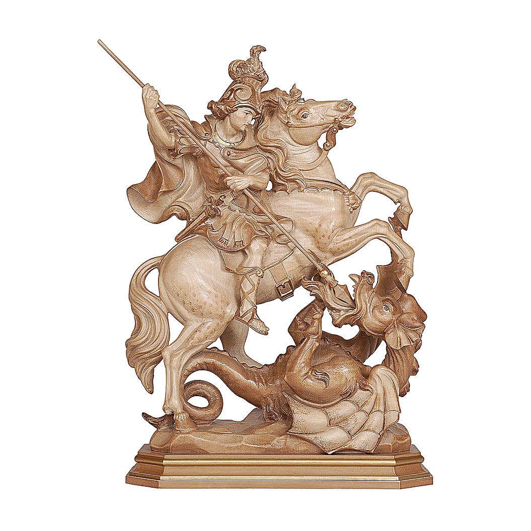 San Giorgio su cavallo legno brunito 3 colori Valgardena 4