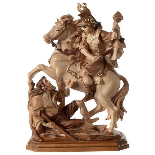 San Martino su cavallo legno brunito 3 colori Valgardena 1
