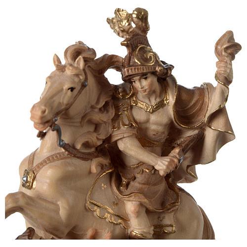 San Martino su cavallo legno brunito 3 colori Valgardena 2