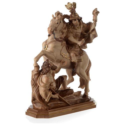 San Martino su cavallo legno brunito 3 colori Valgardena 3