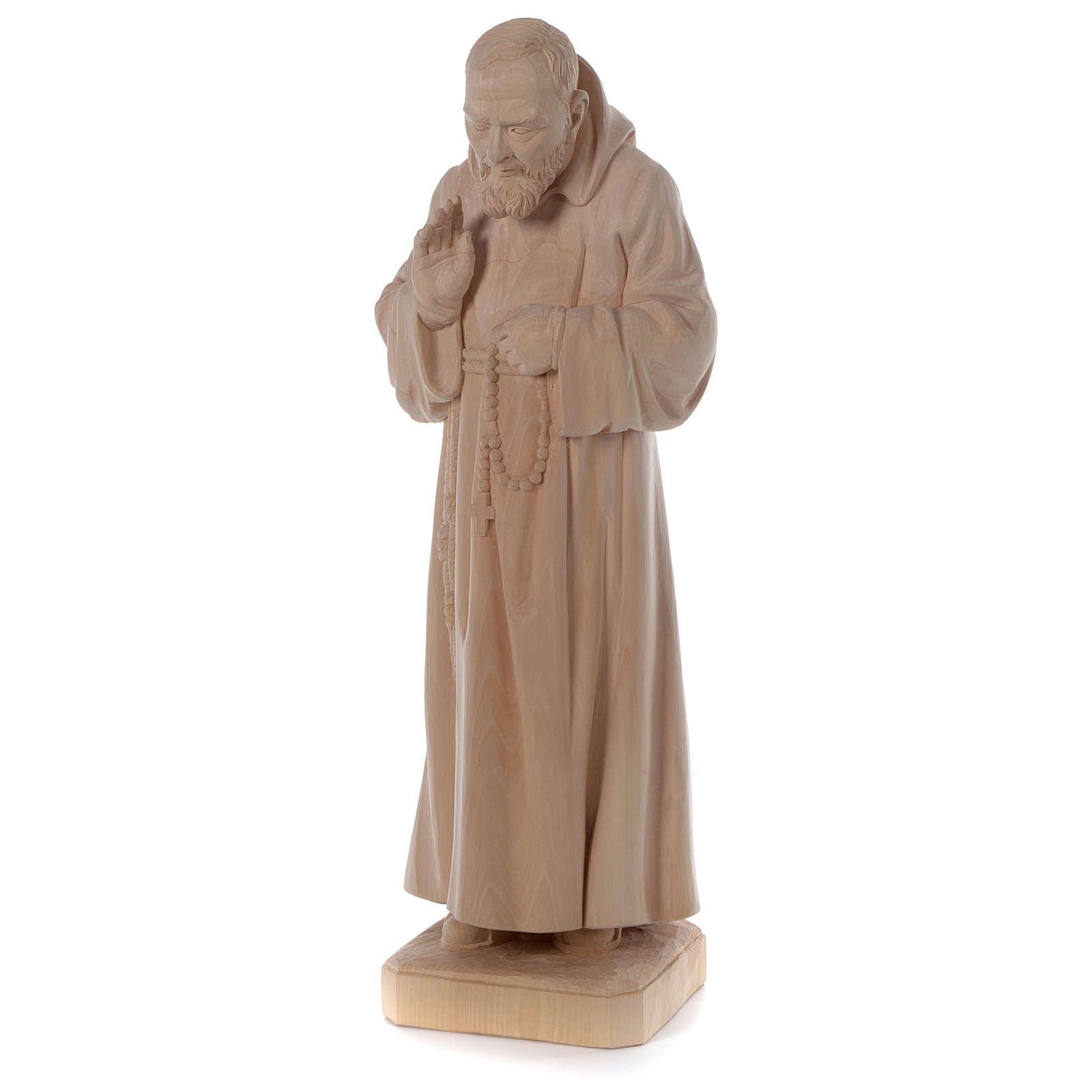 Statue Padre Pio aus Naturholz Grödnertal-Schnitzerei 4