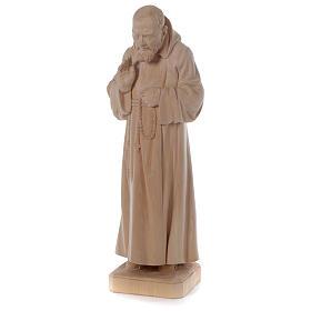 Statue Padre Pio aus Naturholz Grödnertal-Schnitzerei s3