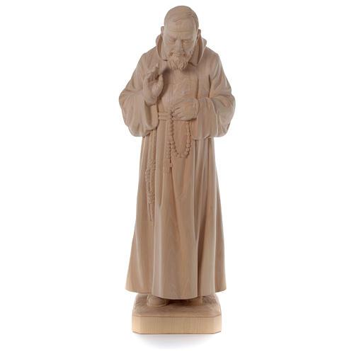 Statue Padre Pio aus Naturholz Grödnertal-Schnitzerei 1