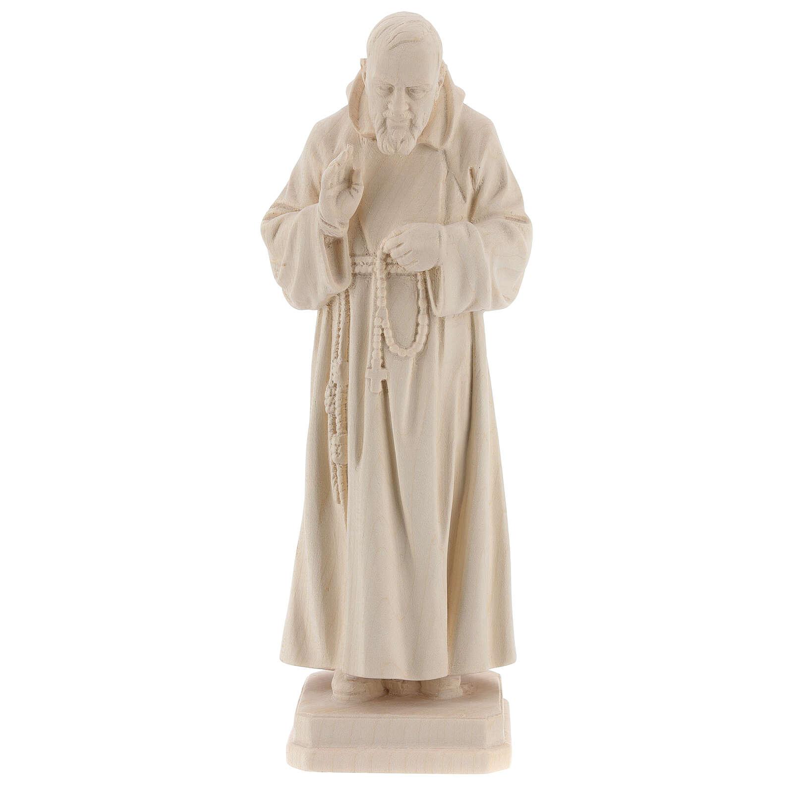 Valgardena statue of Saint Pio in natural wood 4