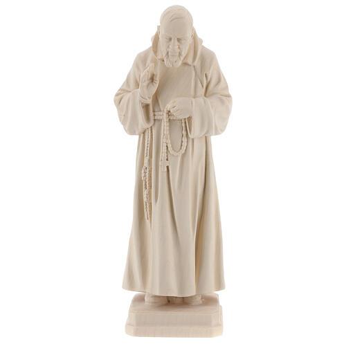 Valgardena statue of Saint Pio in natural wood 1