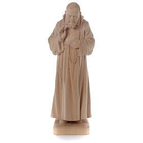 Padre Pio legno naturale Valgardena s1