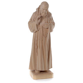 Padre Pio legno naturale Valgardena s4