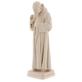 Padre Pio legno naturale Valgardena s3