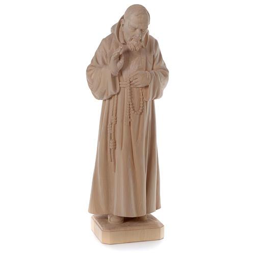 Padre Pio legno naturale Valgardena 4