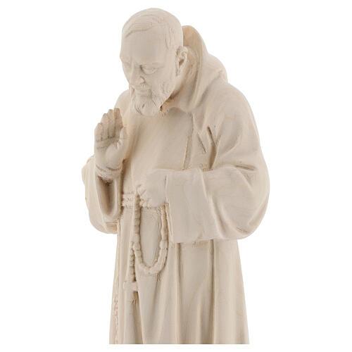 Padre Pio legno naturale Valgardena 2