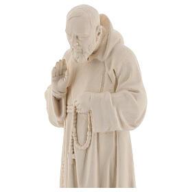 Valgardena statue of Saint Pio in natural wood s2