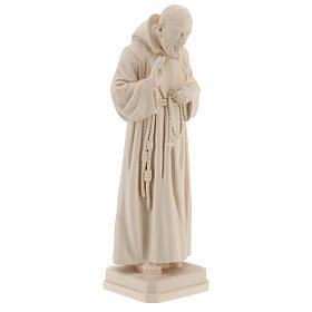 Valgardena statue of Saint Pio in natural wood s4