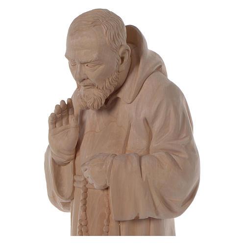 Valgardena statue of Saint Pio in natural wood 2