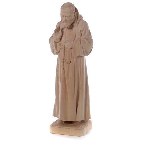 Valgardena statue of Saint Pio in natural wood 3