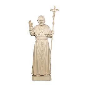 Pope John Paul II in natural maple wood of Valgardena s1