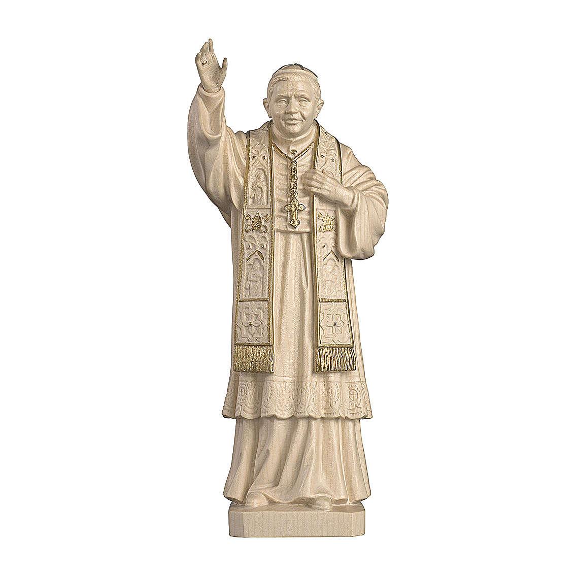 Papa Benedetto XVI cera filo oro legno acero Valgardena 4