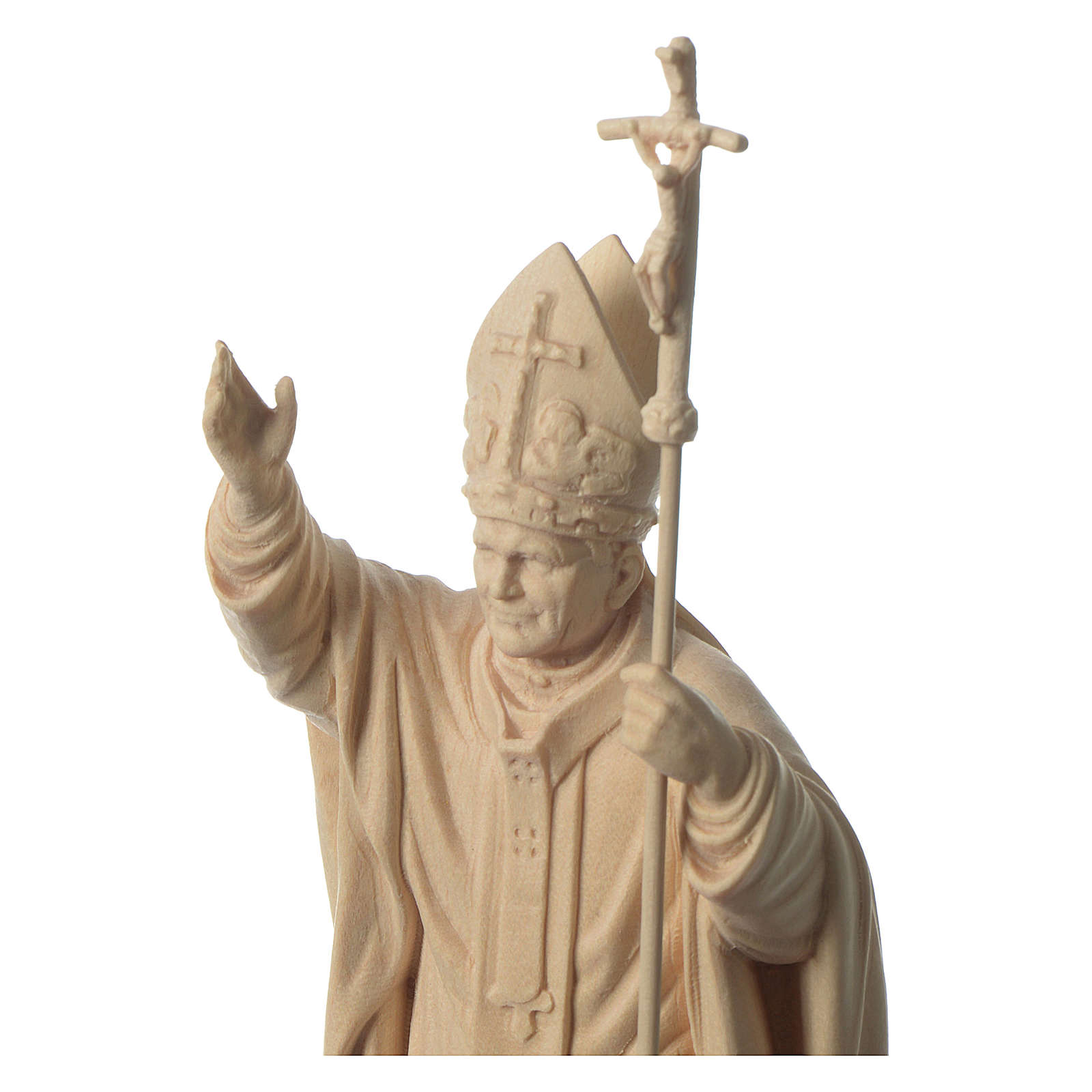 Pope John Paul II with mitre in natural maple wood of Valgardena 4