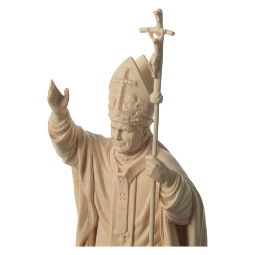 Pope John Paul II with mitre in natural maple wood of Valgardena 2