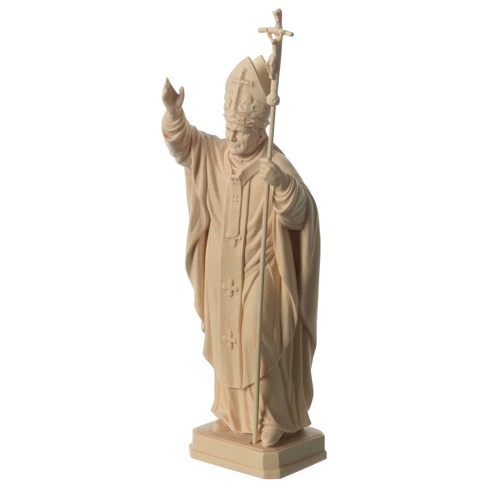 Papa Giovanni Paolo II con mitria naturale legno acero Valgardena 4