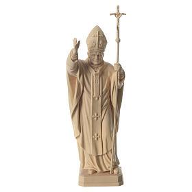 Papa Giovanni Paolo II con mitria naturale legno acero Valgardena s1