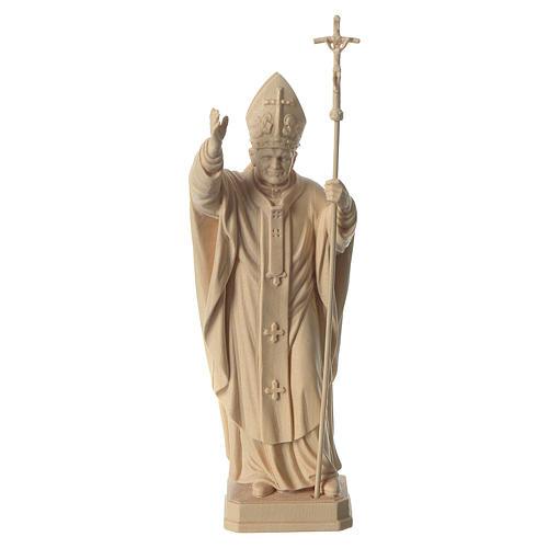 Papa Giovanni Paolo II con mitria naturale legno acero Valgardena 1