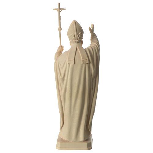 Papa Giovanni Paolo II con mitria naturale legno acero Valgardena 5