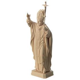 Papież Jan Paweł II z mitrą naturalne drewno klonowe Val Gardena s3