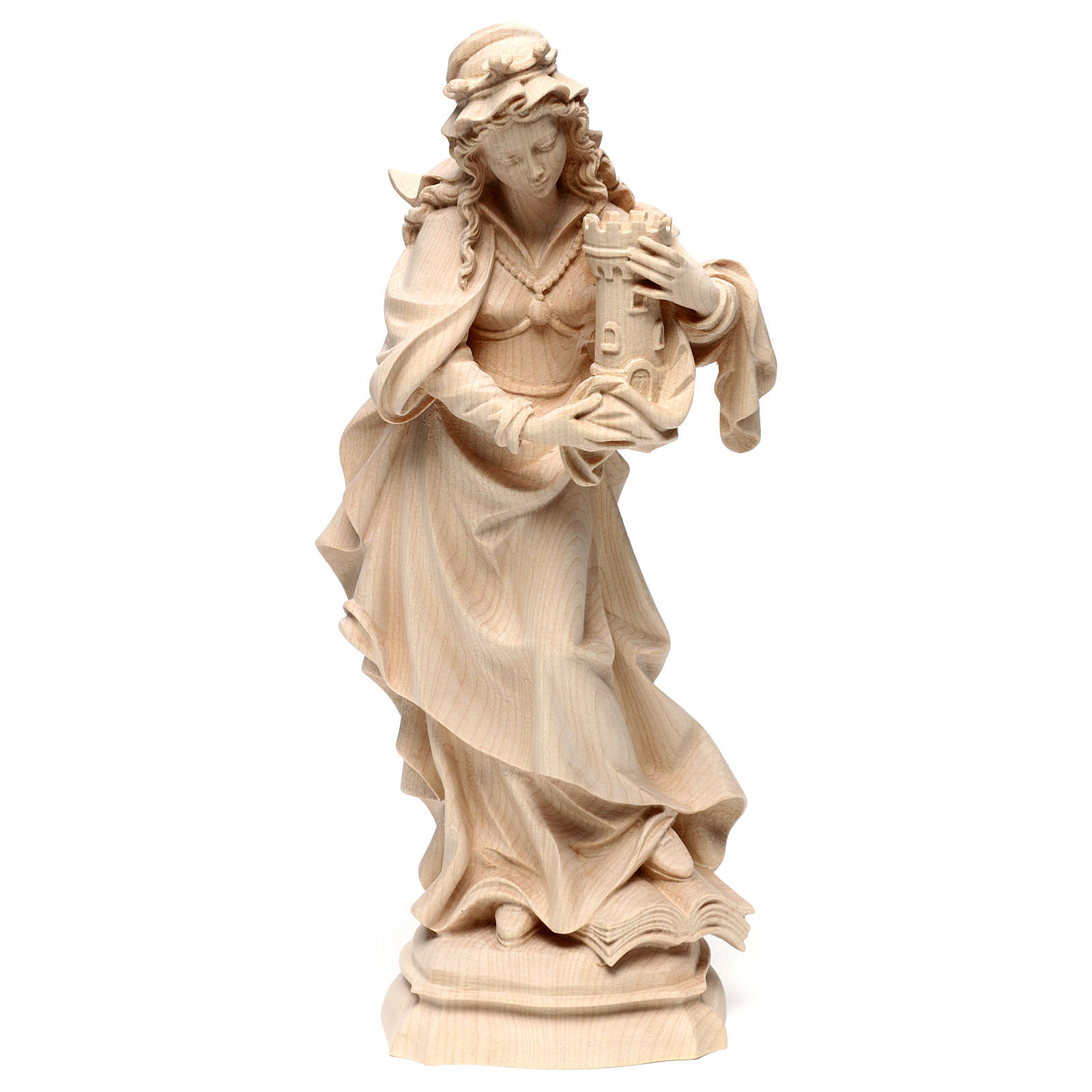 Saint Barbara in natural maple wood of Valgardena 4