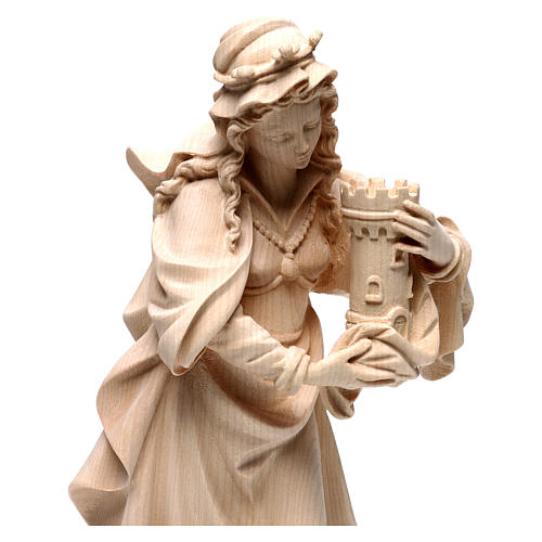 Saint Barbara in natural maple wood of Valgardena 2