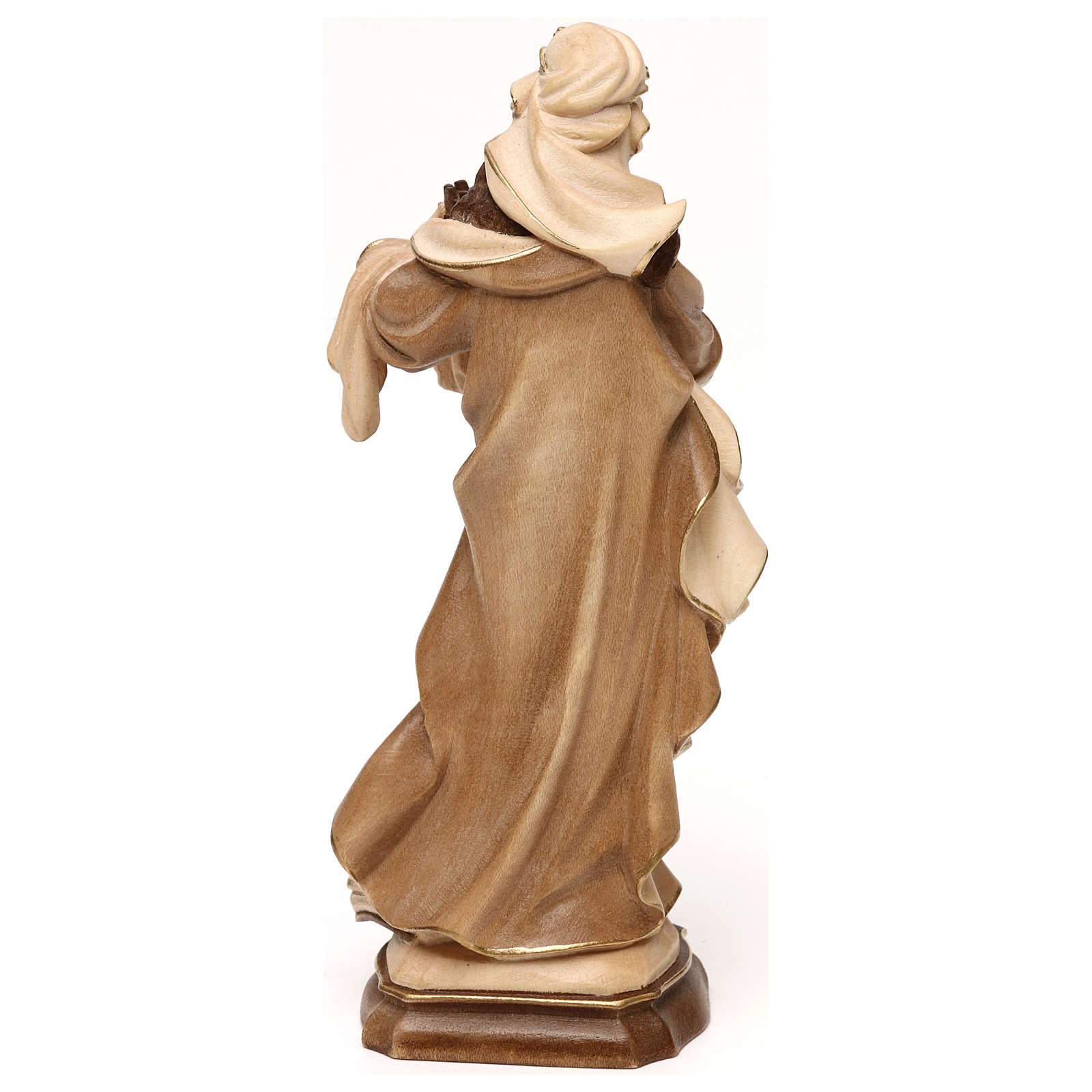 Saint Barbara burnished in 3 colours in maple wood of Valgardena 4