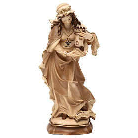 Saint Barbara burnished in 3 colours in maple wood of Valgardena s1