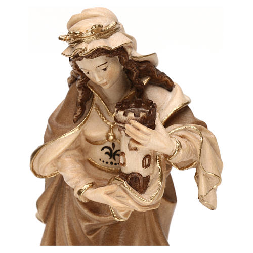 Saint Barbara burnished in 3 colours in maple wood of Valgardena 2
