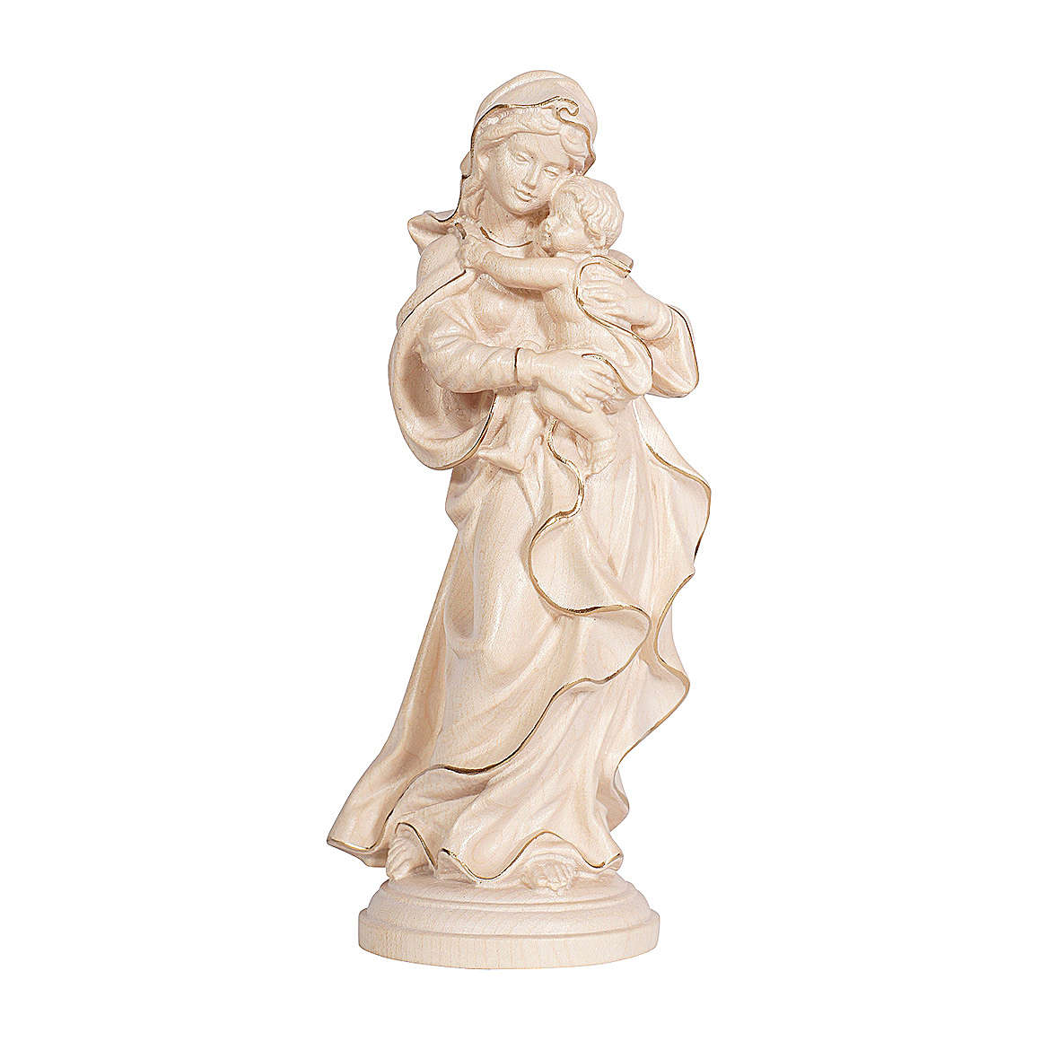 Virgem Rafael madeira Val Gardena cera fio ouro 4