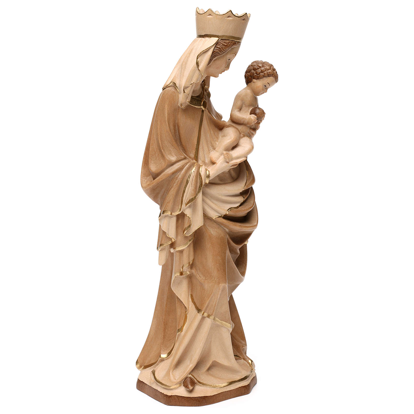 Our Lady of Krumauer in wood of Valgardena burnished in 3 colours 4