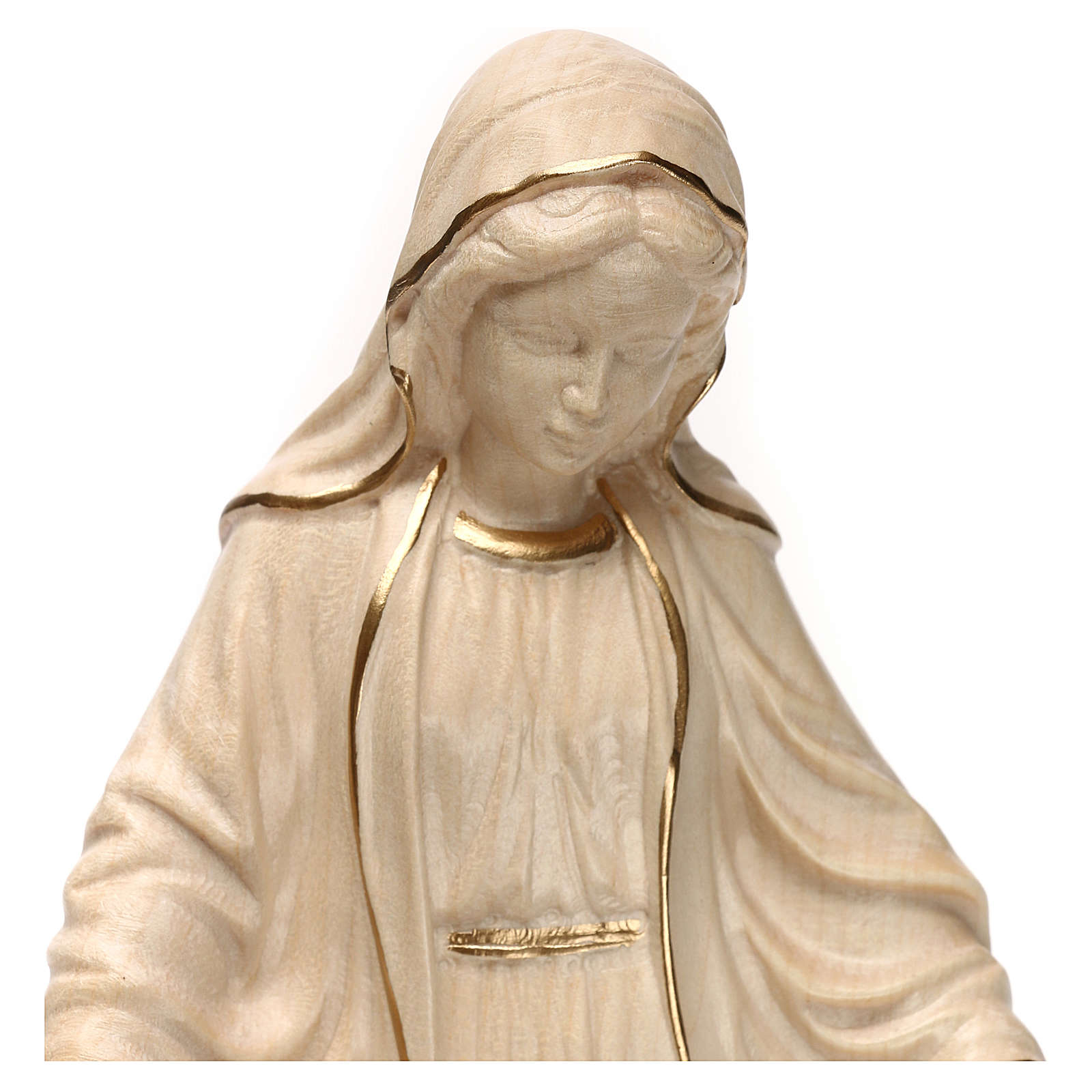 Virgen de las gracias madera Val Gardena encerado hilo oro 4