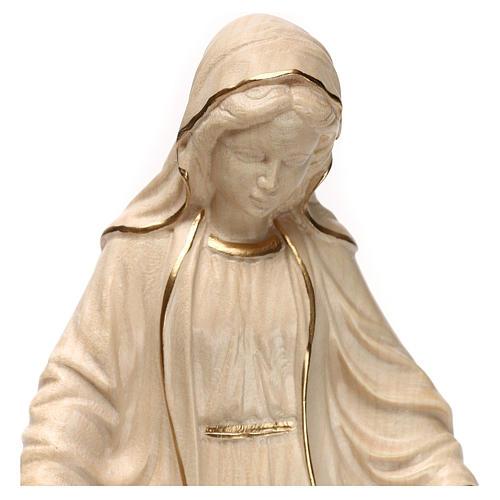 Virgen de las gracias madera Val Gardena encerado hilo oro 2