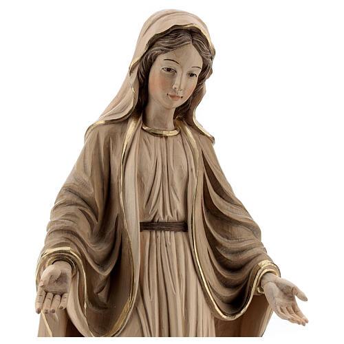 Nossa Senhora das Graças madeira Val Gardena brunida 3 tons 4