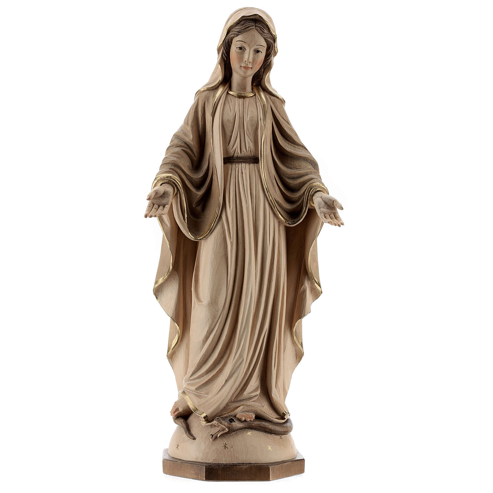 Our Lady of Graces in wood of Valgardena burnished in 3 colours 4