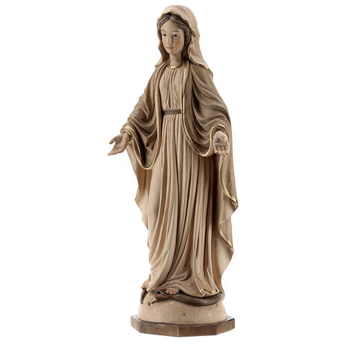 Our Lady of Graces in wood of Valgardena burnished in 3 colours 3