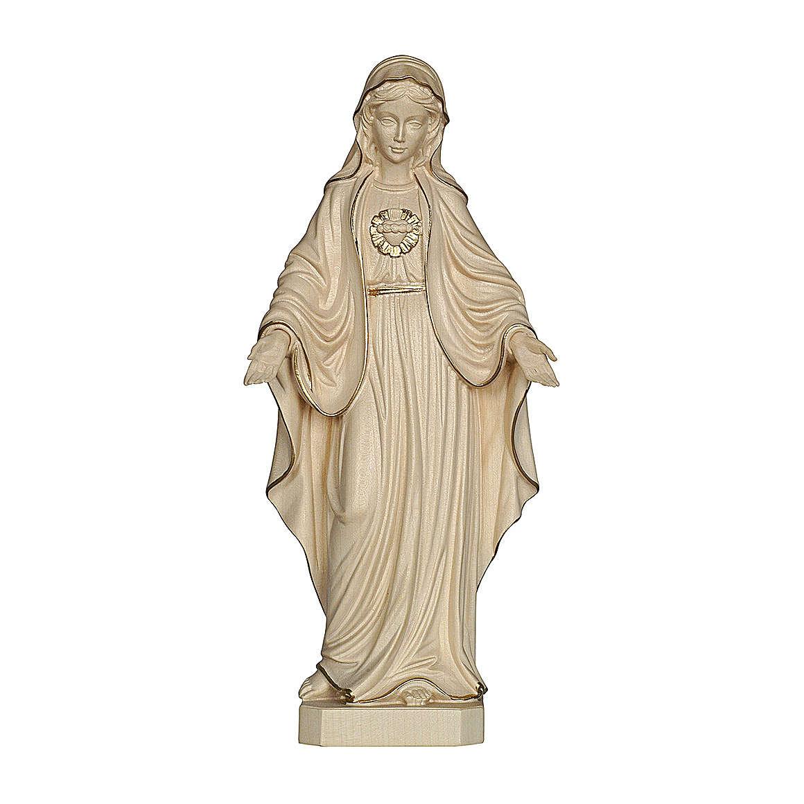 Sacro Cuore di Maria legno Valgardena cerato filo oro 4