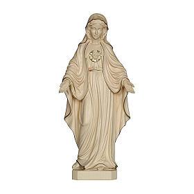 Sacro Cuore di Maria legno Valgardena cerato filo oro s1