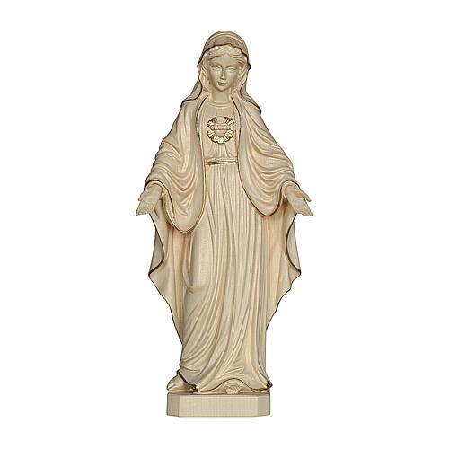 Sacro Cuore di Maria legno Valgardena cerato filo oro 1