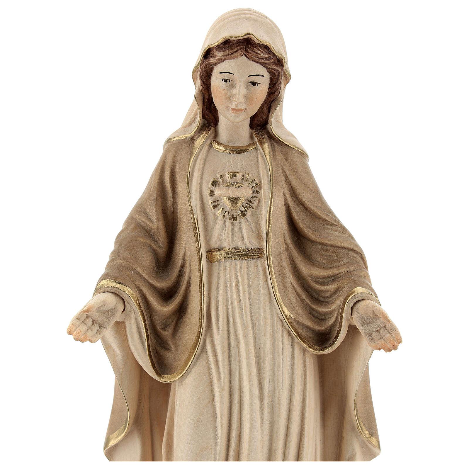 Sacro Cuore di Maria legno Valgardena brunito 3 colori 4