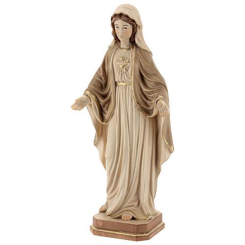 Sacro Cuore di Maria legno Valgardena brunito 3 colori 3