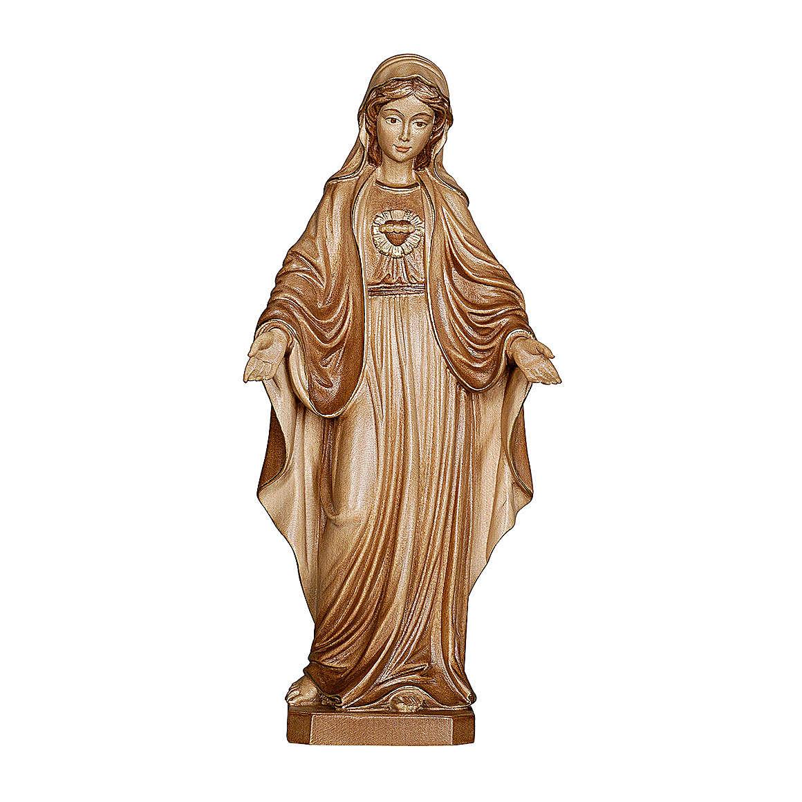 Imaculado Coração de Maria madeira Val Gardena brunida 3 tons 4