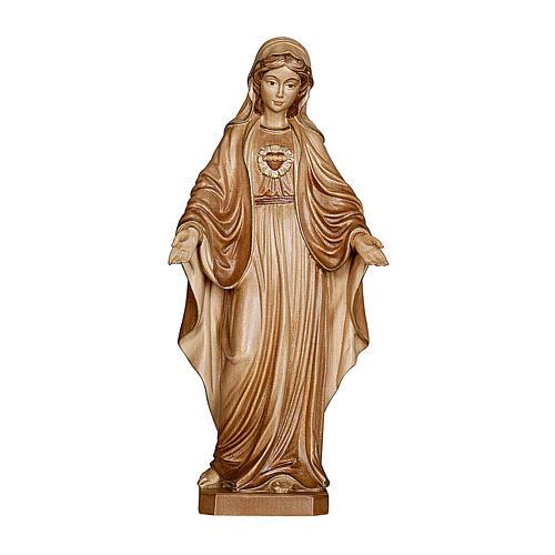 Imaculado Coração de Maria madeira Val Gardena brunida 3 tons 1
